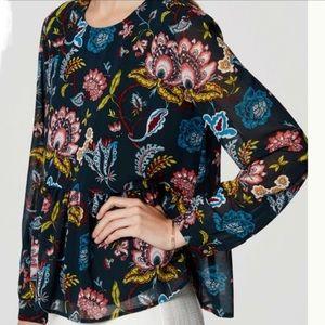 LOFT Floral Peplum Style Blouse Deep Turquoise